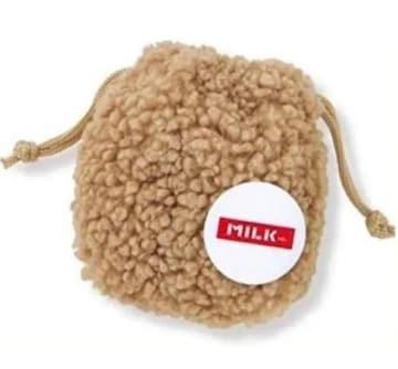 雑誌付録★ミルクフェドミニもこボア巾着&ロゴ缶バッジ