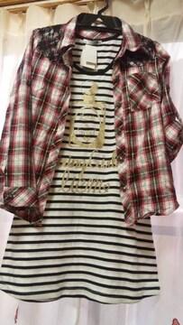 新品ラメレースシャツ&チュニックトップス2枚セット150