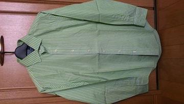 訳あり激安80%オフラルフローレン、長袖ストライプシャツ(美品、緑白、M)