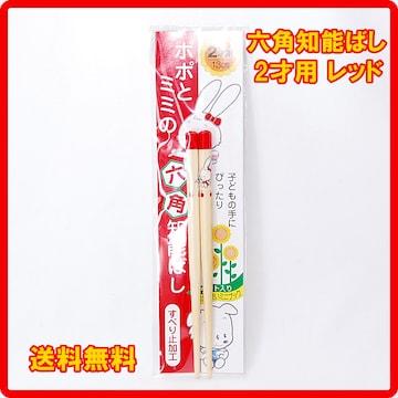 正規品 日本製 六角知能箸 2才用 13cm レッド 子供箸 箸匠せいわ