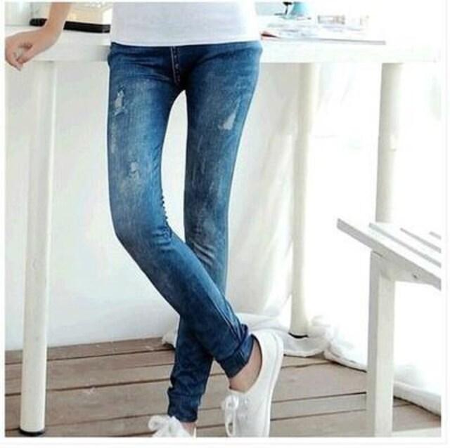 保【ブルー】 レディース レギンス ストレッチ パンツ 美脚  < 女性ファッションの