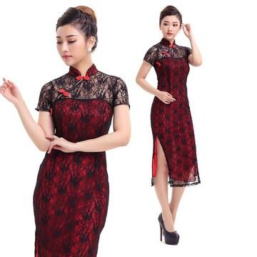 赤 ロング丈キャバドレス 総花柄ドレス ランジェリー