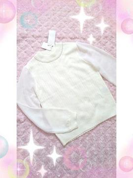 新品☆ロディスポット*袖異素材ニットトップス
