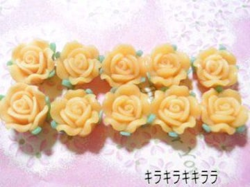 《New》<樹脂粘土>樹脂バラ(薔薇)*デコパーツ【オレンジ=10個セット】