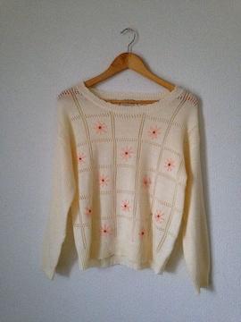 マウスバレー◆お花刺繍 ナチュラル 透かし ニット セーター M