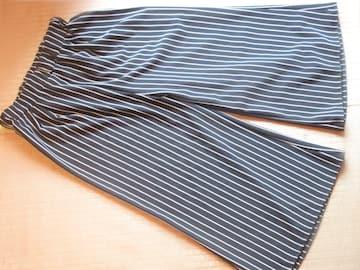 八分丈ワイドパンツ*ストライプ模様(ブラック)ウエストゴム