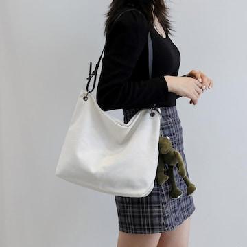 新品キャンバス生地ショルダーバックトートバッグ白ホワイド*レディース