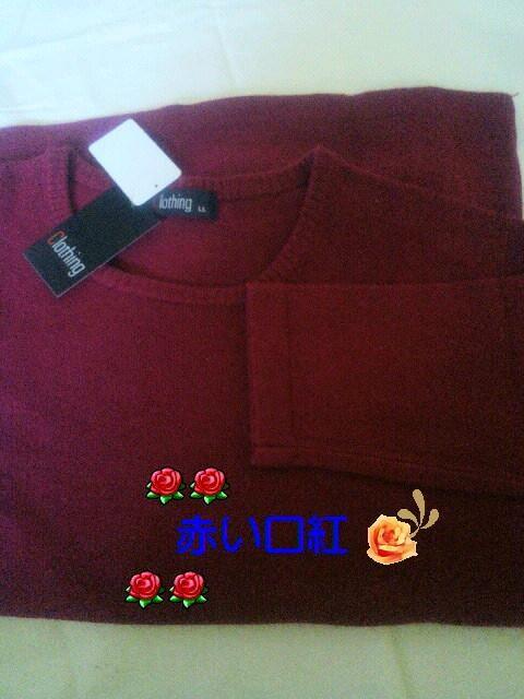 LL〜*大きいsizeプレーン丸襟セーターレッド < 女性ファッションの