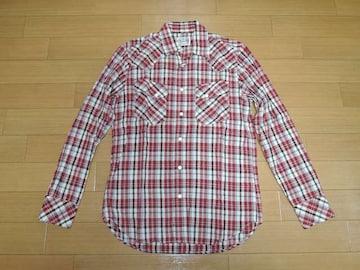 ヒステリックグラマーHYSTERIC GLAMOURラメチェックシャツL赤系