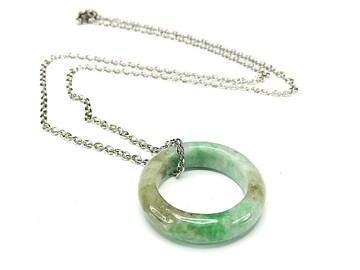 緑入りひすい指輪本翡翠天然石約16号チェーン付き石街U0358