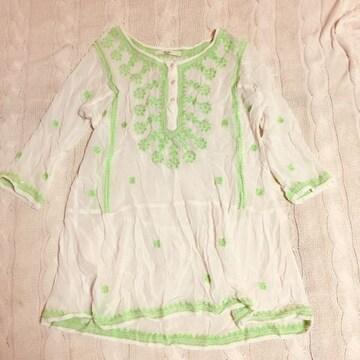 アナザーエディション チュニック ネオングリーン×ホワイト