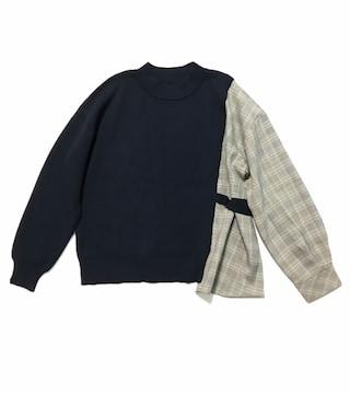 IEDITフェリシモ〓ニット+チェックシャツのドッキングトップス(L)新品〓