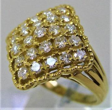 K18 18金 パヴェ ダイヤ リング 指輪 ダイヤ 1.00ct a