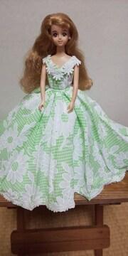 ジェニーちゃん黄緑のコットンロングドレス
