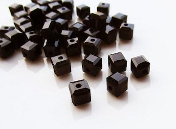 ガラスビーズ6�oキューブ30個ブラック