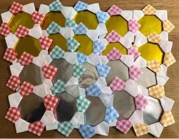 ハンドメイド 折り紙 花メダル 20枚 金銀 壁面飾 イベント