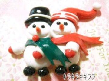 《New》クリスマス<樹脂粘土>★仲良し雪ダルマ*デコパーツ