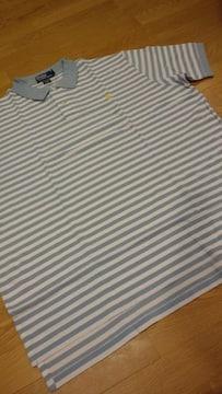 新品POLORALPH LAUREN ボーダーポロシャツ XXL→3XL 水色グレー