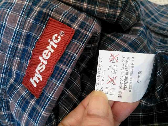 ヒス darkblue×brown  チェックシャツ < ブランドの