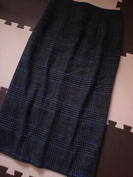 ur's ユアーズ☆Iラインスカート★グレンチェック×ウール調☆ミディ丈★未使用☆