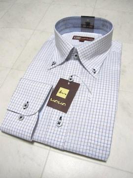 □WAWA☆新作 ドレスシャツ/ビジネスシャツ/メンズM/白×チェック☆新品