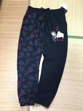 YOSHIKI×キティコラボキャラクター柄スウェットパンツ。LL薔薇
