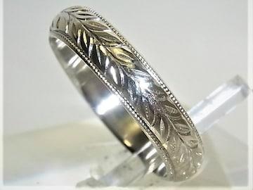 プラチナ リング 甲丸 柄入 サイズ#7 結婚指輪