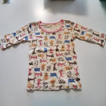 ベージュにネコ模様ピンクのふち長袖シャツ�@80