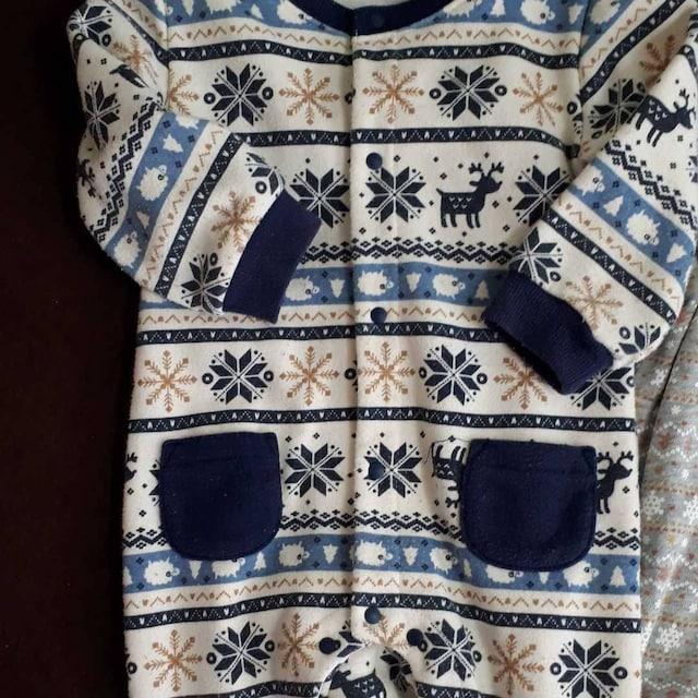 オールインワン ロンパース 80 クリスマス 裏起毛 トナカイ スノー サンタ < キッズ/ベビーの