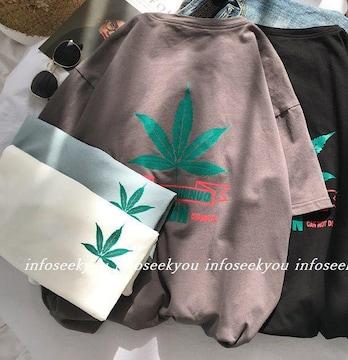 LL3L大きいサイズ/葉っぱプリントTシャツ/グレー