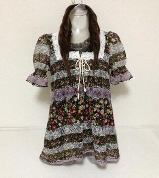 ◯花柄レース☆チュニック M