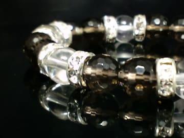スモーキークォーツ煙水晶×水晶8ミリ§銀ロンデル数珠