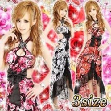 《New》キャバ嬢★Sexy&ゴージャス・薔薇/ローズ柄*ロングドレス<グレーM>
