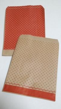R70サイズ平袋★ピンドット赤紙袋☆20枚