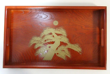 お盆 トレイ 木製 長手盆