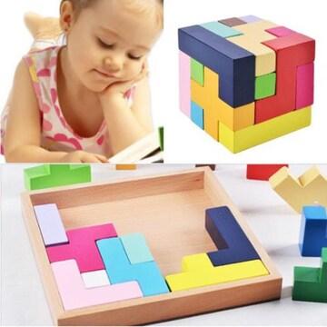 ★ 木製知育玩具 形合わせ パズル 立体 ブロック 木製おもちゃ