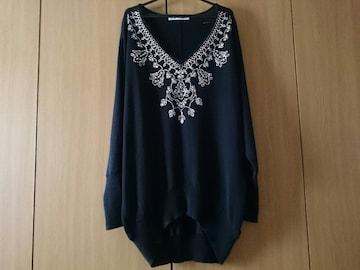 LINK IT ALL リンクイットオール☆デザイン綿ニット★ラインストーン☆ゆるカワ★