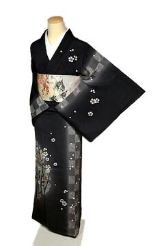 【最高級】新品同様 金駒刺繍 枝桜にフクロウ親子 訪問着 T1981