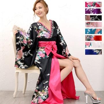 豪華ビジュー 花魁 ロング着物ドレス 和柄 衣装 ダンス チャムドレス