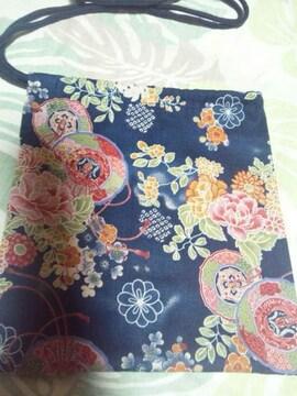 ☆新品紺×鏡裏牡丹菊花束和柄ナナメ掛巾着袋
