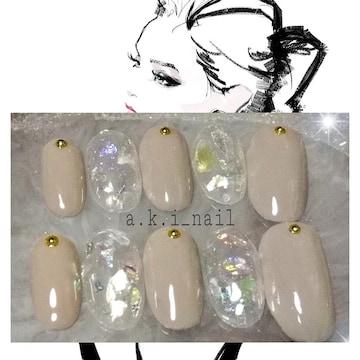 ジェルネイルチップ☆付け爪~ホログラム×グレージュ☆シンプル
