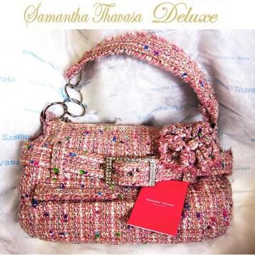 サマンサタバサデラックス ツイードショルダーハンドバッグ ピンク