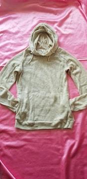 杢ベージュ指穴ナチュラル可愛い暖か長袖セーターニットパーカー