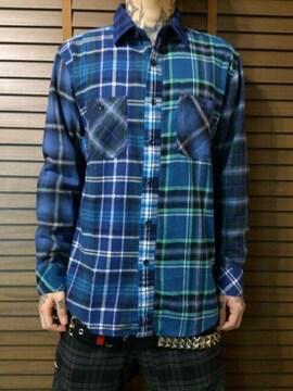 即決FXXKクレイジーブルーチェックネルシャツ!ハードコアパンクロックスイサイダルテンデンシーズ