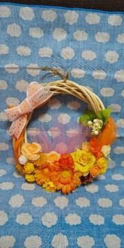 11/25削除】オレンジ・フラワーリース★ハンドメイド品