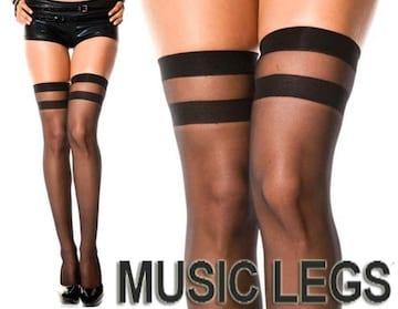 A194)MUSICLEGSシアーサイハイストッキング黒ブラックタイツダンス衣装ダンサーニーハイ