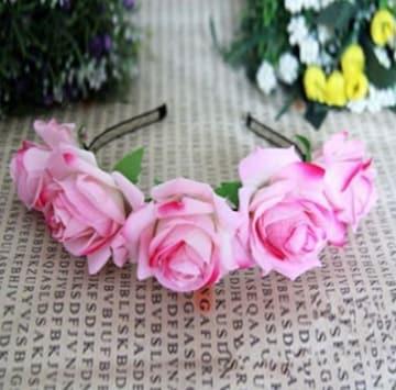 新品 ピンク薔薇コサージュカチューシャ ゴスロリ姫系コスプレ