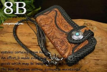 ◆カービング 2つ折財布 ウォレット バイカー コンチョ◆黒c12