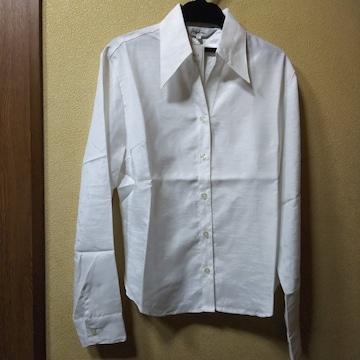 新品タグ付★光沢のある長袖シャツ/ホワイト/M