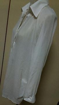 大きいサイズ★後ろレース白シャツ★ベルト付★3L